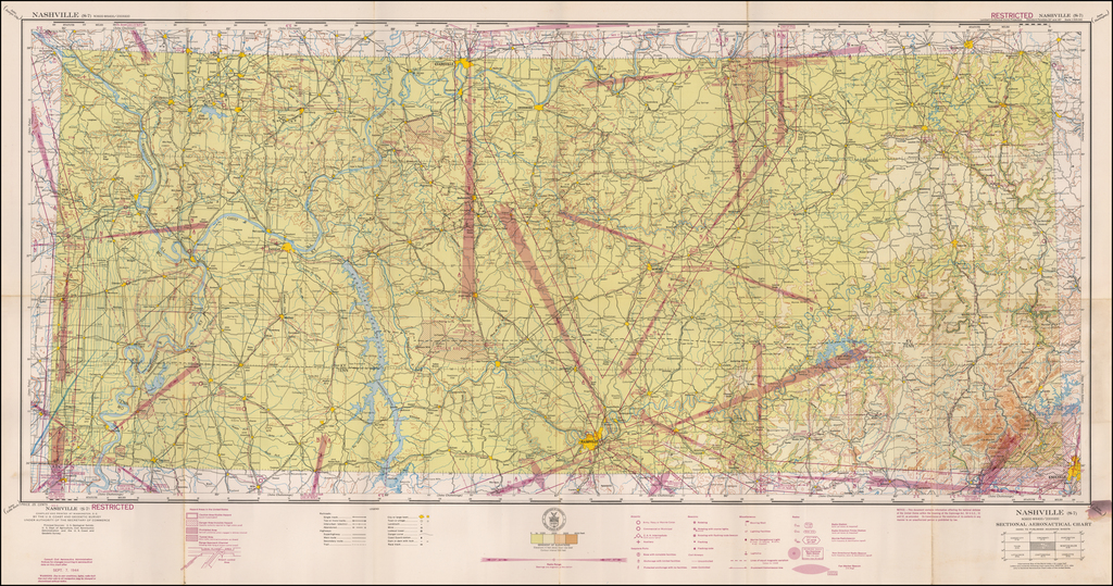 (Restricted) Nashville . . . Sectional Aeronautical Chart  By U.S. Coast & Geodetic Survey