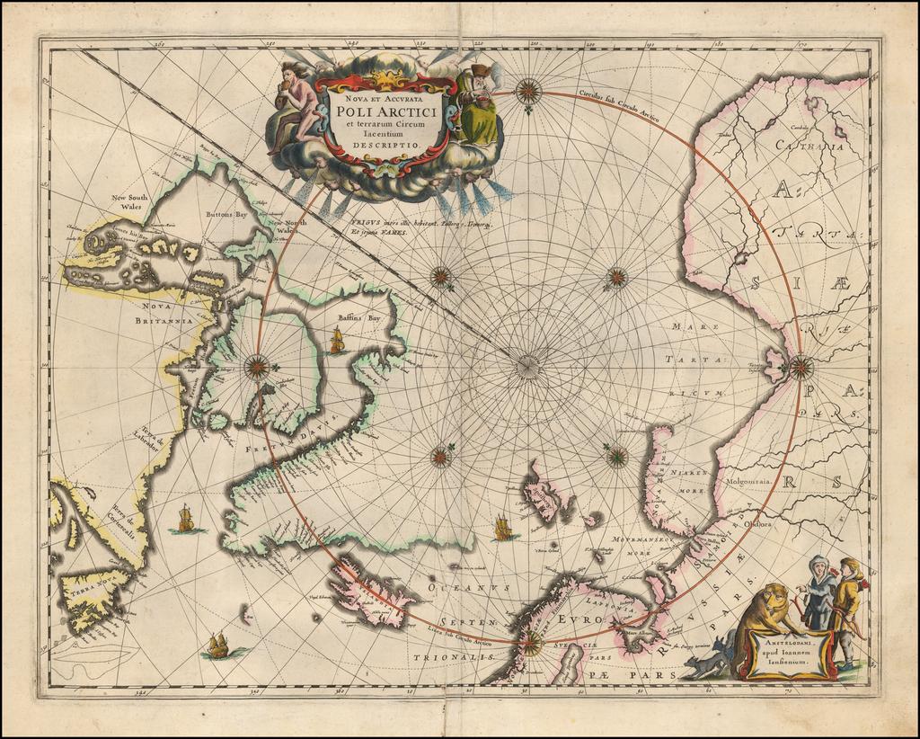 Nova et Accurata Poli Arctici et terrarum Cium Iacentium Descriptio   By Jan Jansson
