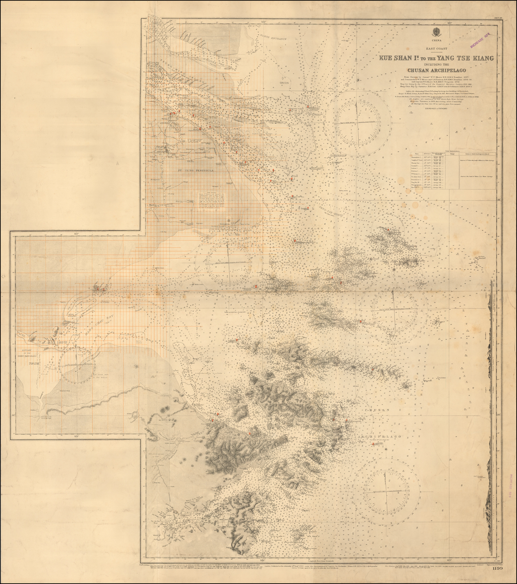 (Shanghai -- Redlined for Surveying)  Kue Shan Is. to the Yang Tse Kiang Including Chusan Archipelago From Surveys by Commr. W.U. Moore R.N., H.M.S. Rambler 1887 and Commanders W.U. Moore and L.S. Dawson R.N., H.M.S. Rambler, 1888-90, and Captain W.U. Moore R.N., H.M.S. Penguin, 1892 . . .  By British Admiralty