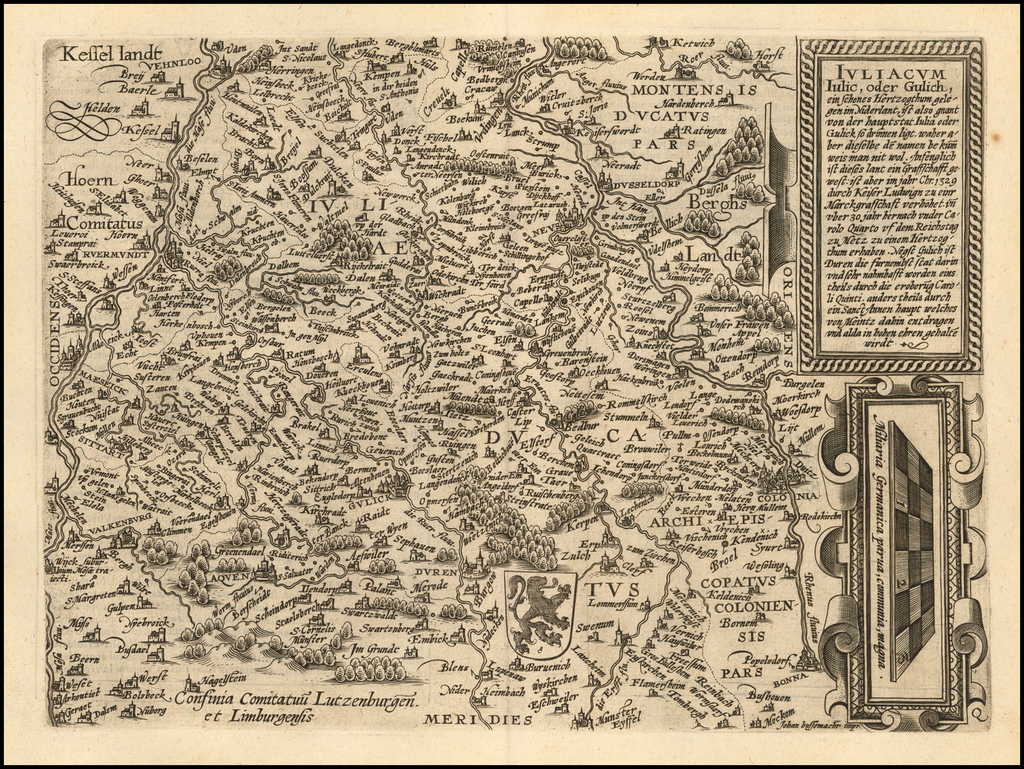 Iuliacum Iulic, oder Gulich, ein schones Hertzogthum gelegen im Niderlant . . .  By Matthias Quad / Janus Bussemacher