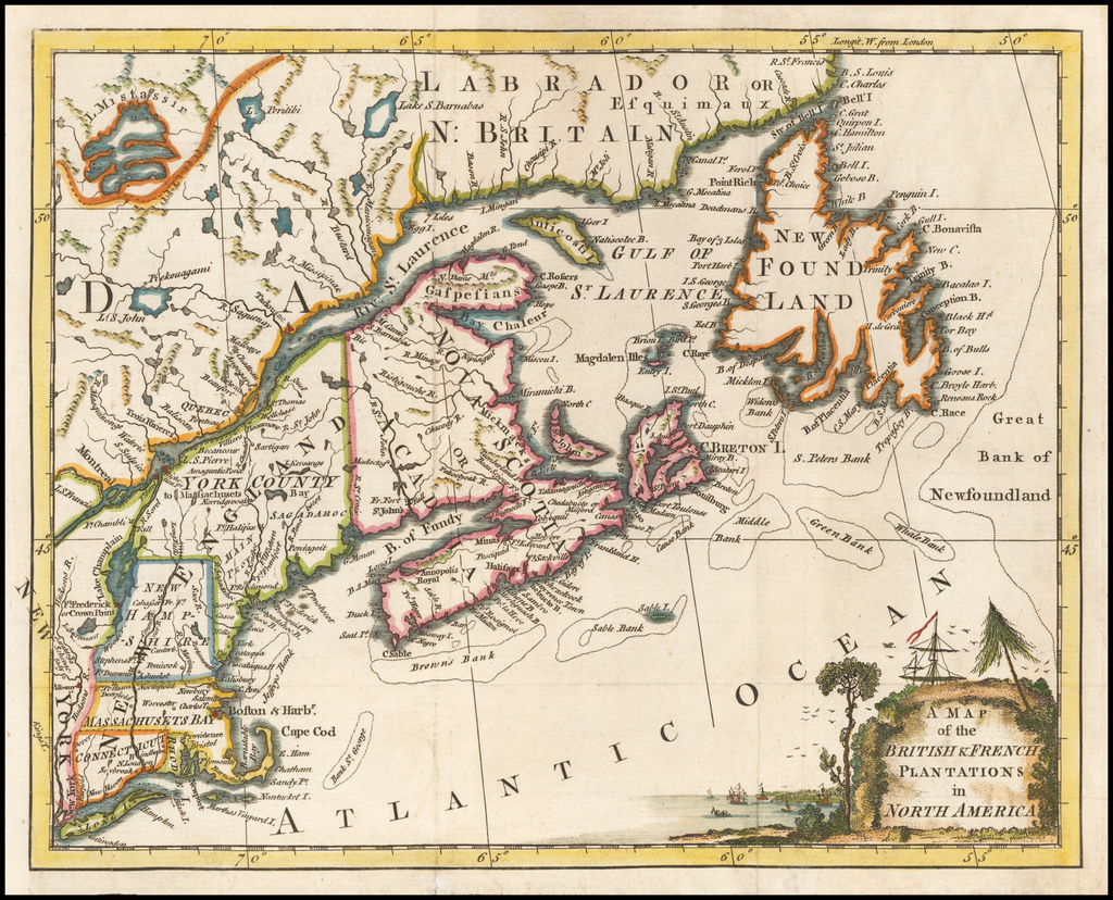 A Map of the British & French Plantations in North America By London Magazine
