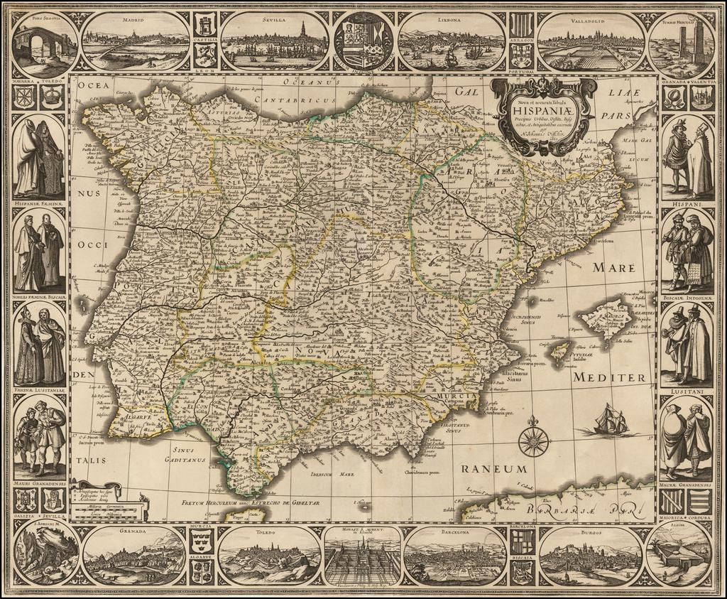 Nova et accurata Tabula Hispaniae Praecipuis Urbibus Vestitu Insignibus et Antiquitatibus. . . 1660 By Nicolaes Visscher I