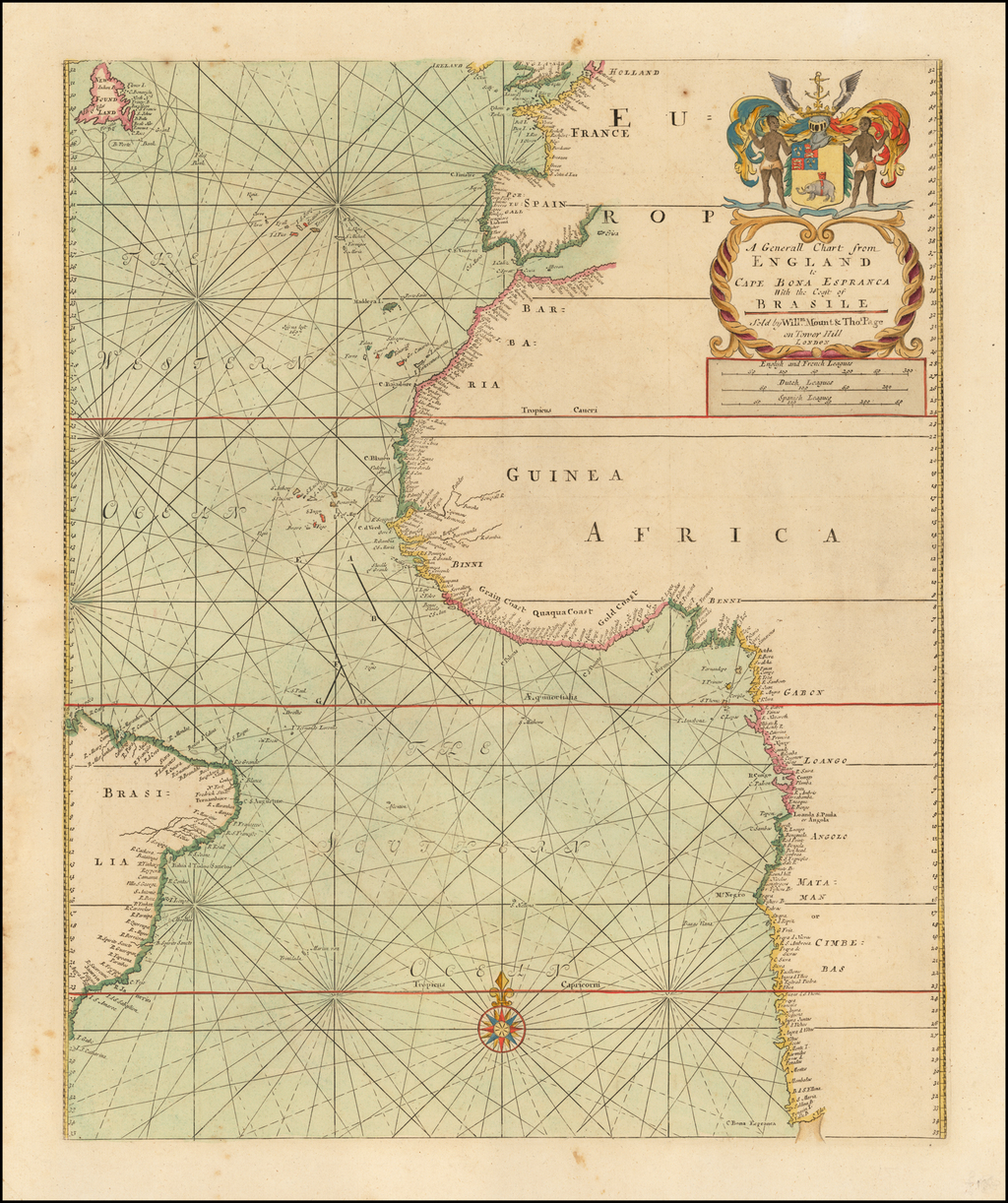 A Generall Chart from England to Cape Bona Espranca With the Coast of Brasile  Sold by Willm. Mount and Thos. Page on Tower Hill  London. By William Mount  &  Thomas Page
