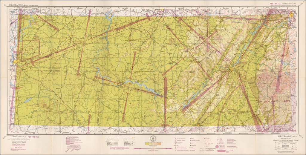 (Restricted) Chattanooga  . . . Sectional Aeronautical Chart  By U.S. Coast & Geodetic Survey