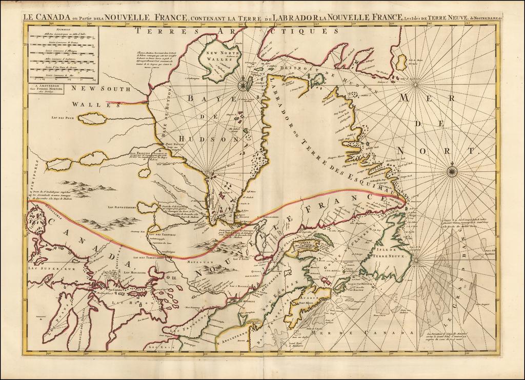 Le Canada ou Partie de la Nouvelle France, Contenant la Terre de Labrador la Nouvelle France, les Isles de Terre Neuve, de Nostre Dame &c.  By Pieter Mortier
