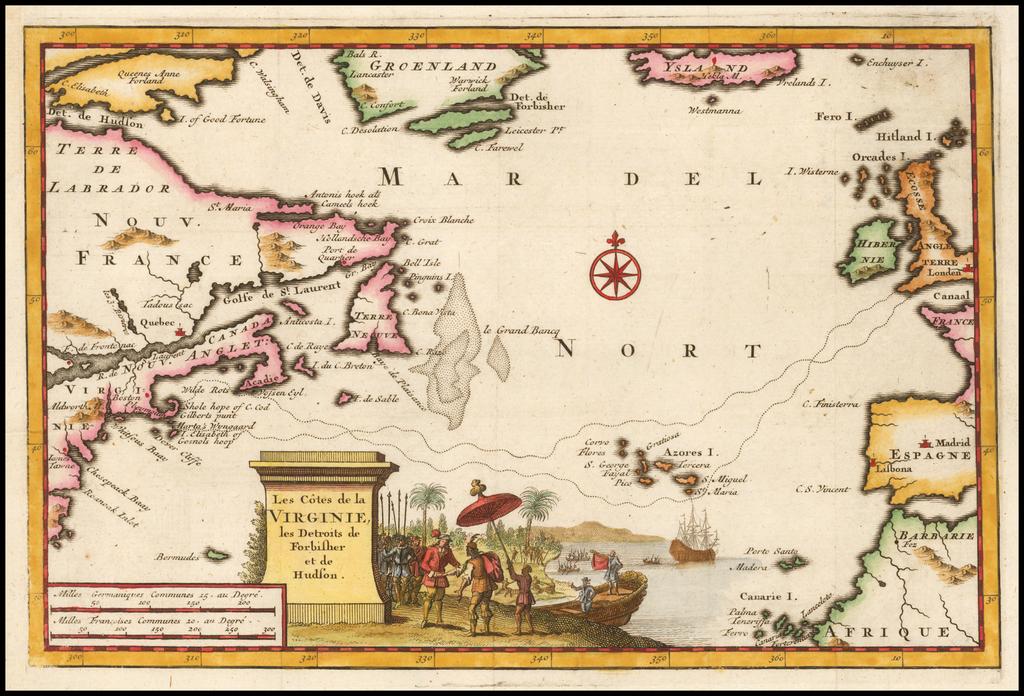 Les Cotes de la Virginie, les Detroits de Forbisher et de Hudson  (Shows discovery of Cape Cod and Martha's Vineyard) By Pieter van der Aa