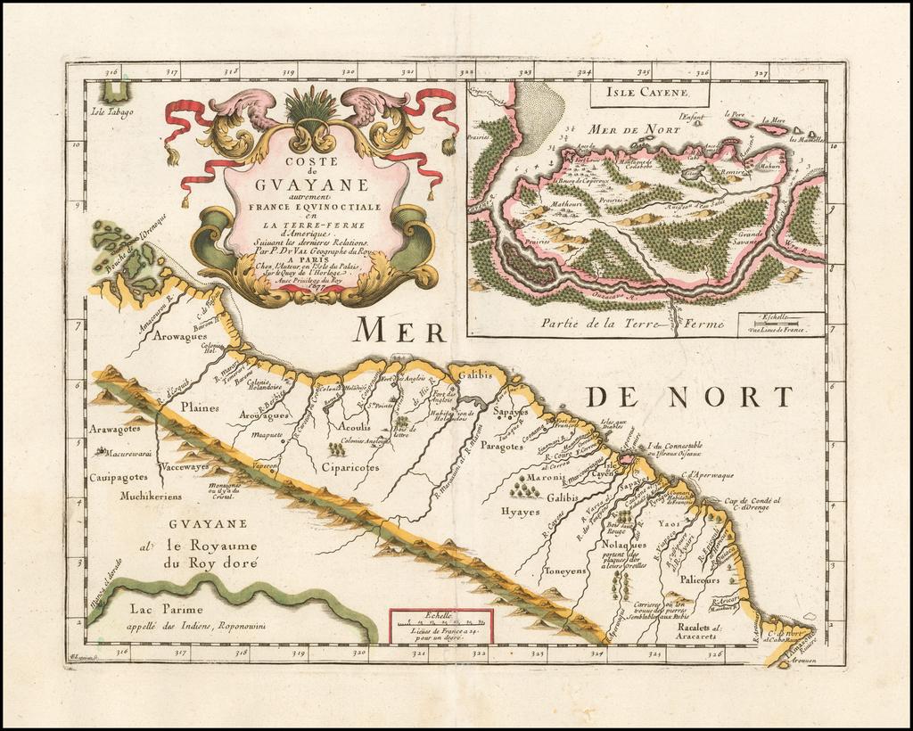 Coste de Guayane autrement France Equionoctiale en La Terre-Ferme d'Amerique . . .  (with large inset of Isle Cayene) By Pierre Du Val