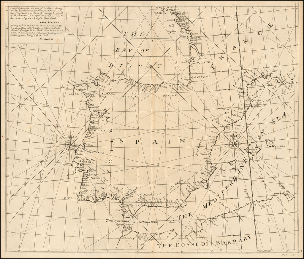 (Iberian Peninula) . A Globular Chart Shewing the Errors of Plain, and the Deficiencyes of Mercators Sailing; and Discovering the true Navigation according to the Globe.  Invented and Performed by John Harris, John Senex & Henry Wilson By John Senex / Edmund Halley / Nathaniel Cutler