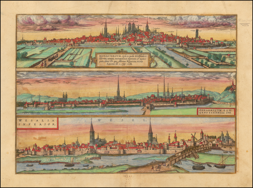 Monasterium Urbs in media Westphalia . . .  / Osnabrugum Elegans Saxoniae Opp.  / Wesalia Inferior By Georg Braun  &  Frans Hogenberg