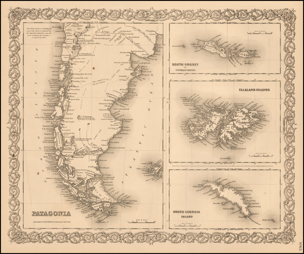 Patagonia [with] South Orkney [with] Falkland Islands [with] South Georgia Island By Joseph Hutchins Colton