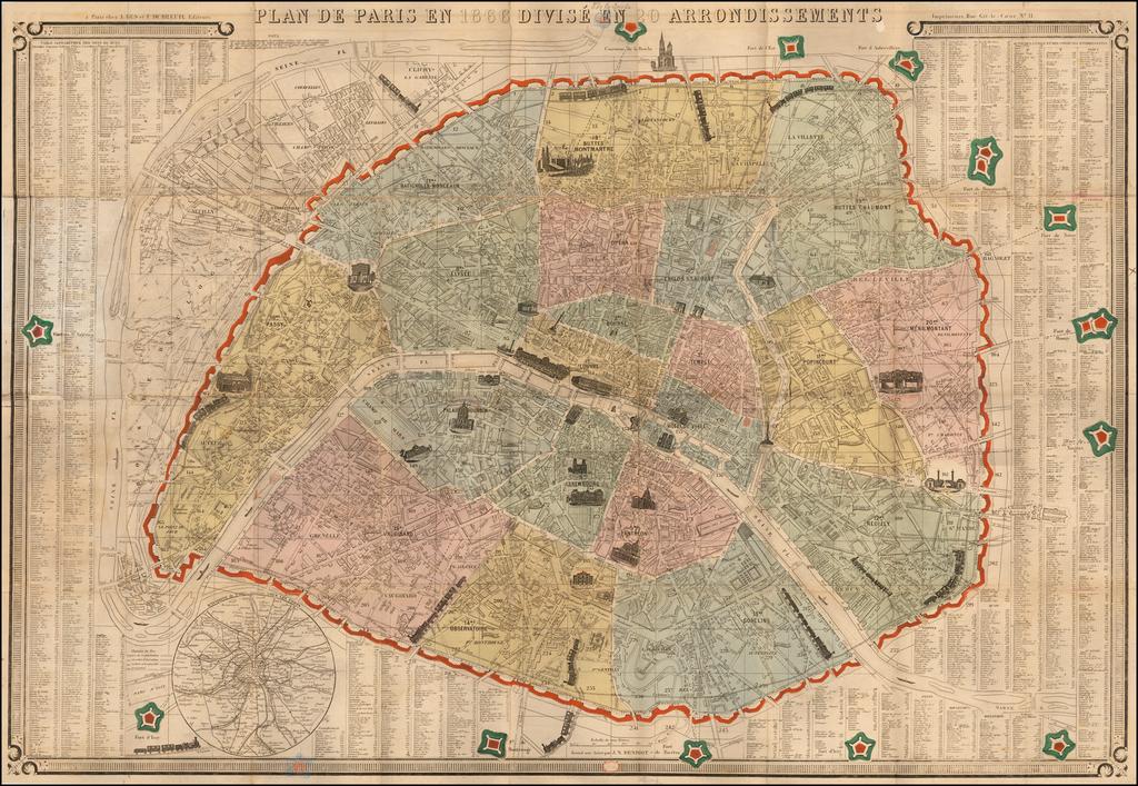 Plan De Paris en 1865 Divise En 20 Arrondissements By A. Bes et F. Dubreuil