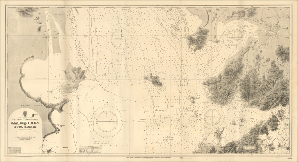 """(Shenzen Bay, Hong Kong Gold Coast, Lantao Island, Macau) Chu Kiang or Canton River -- Kap Shui Mun to Boca Tigris (Southern Sheet) . From Surveys By Lieutenant & Commander W.O. Lyne, R.N. and the Officers of H.M. Surveying Ship """"Waterwitch"""" 1900-01, and by the Officers of the Chinese Imperial Maritime Customs 1906-7, with additions from earlier and later surveys to 1934. By British Admiralty"""