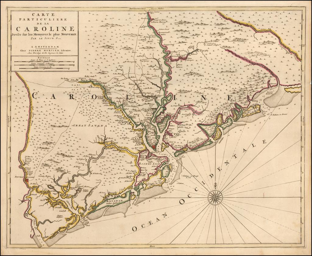 [Charleston & Environs] Carte Particuliere De La Caroline Dresse sur les Memoires le plus Nouveaux Par Le Sieur S[anson] . . .    By Pieter Mortier