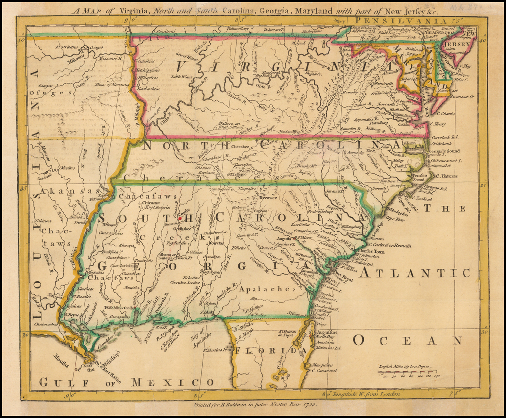 A Map of Virginia, North and South Carolina, Georgia, Maryland with part of New Jersey, &c. By London Magazine