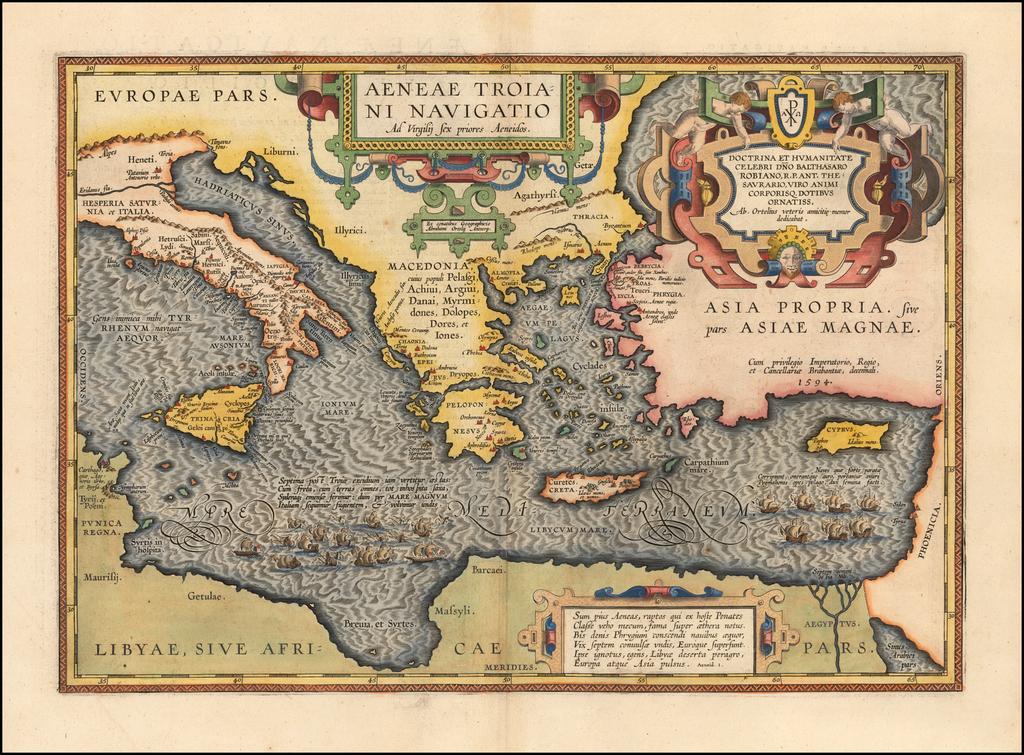 Aeneae Troiani Navigatio Ad Virgilij Sex priores Aeneidos By Abraham Ortelius