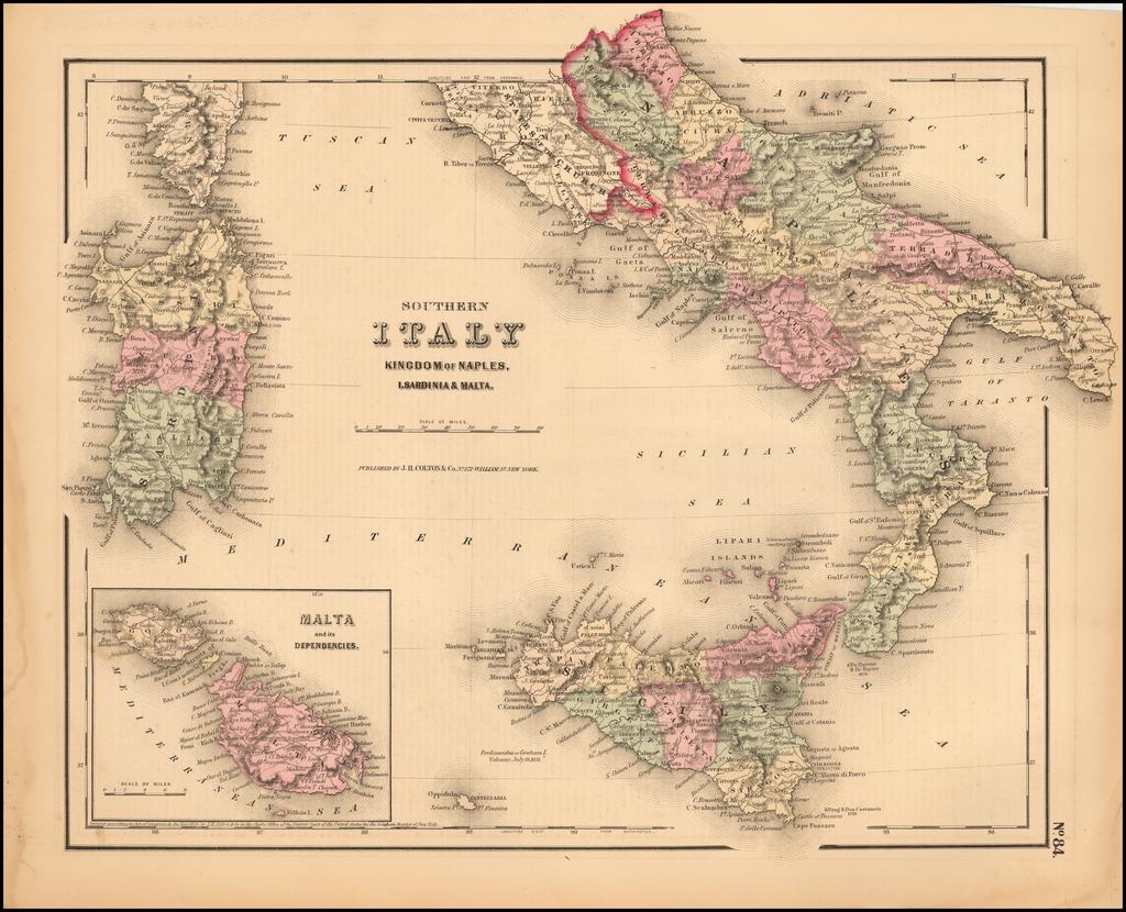 Colton's Southern Italy   Kingdom of Naples, I Sardinia & Malta By Joseph Hutchins Colton