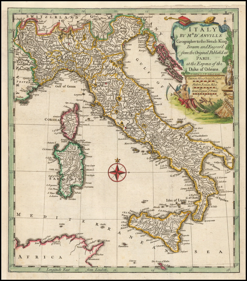 Italy By Mr D'Anville Geographer to the French King.  Drawn and Engrav'd from the Original . . . . By Thomas Kitchin