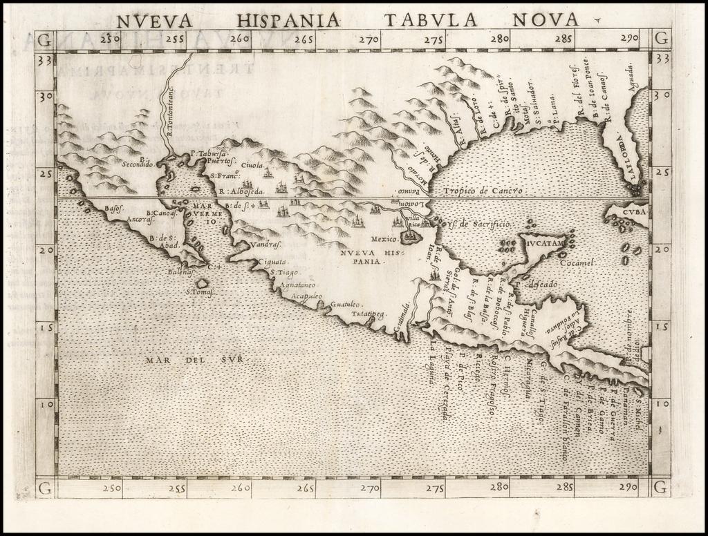 Nueva Hispania Tabula Nova   By Girolamo Ruscelli