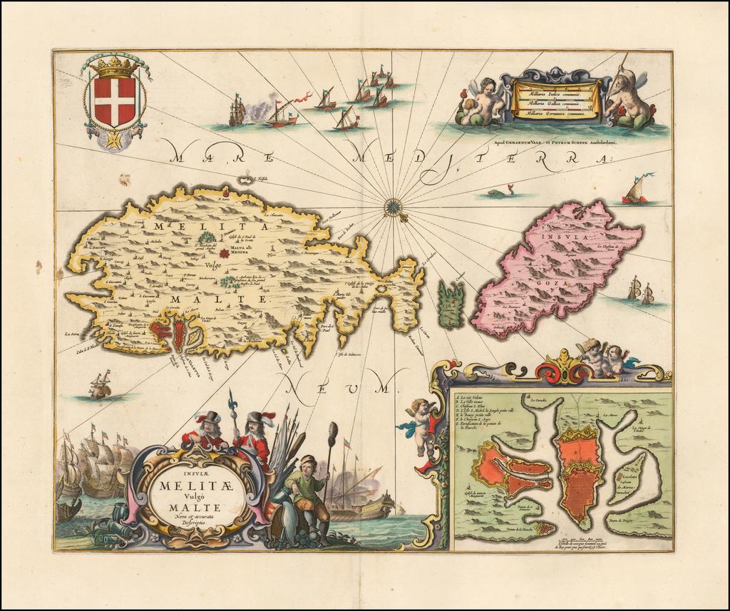 Insulae Melitae vulgo Malte Nova et Accurata Descriptio By Peter Schenk  &  Gerard Valk