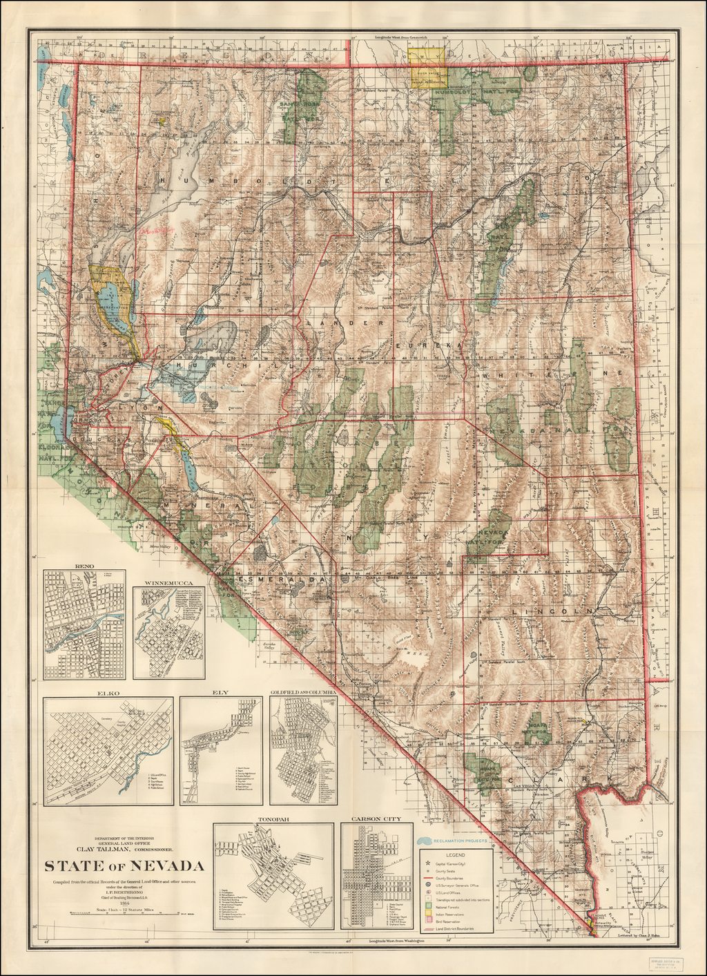 State of Nevada Compiled from the official Records of the General Land Office and other sources . . . 1914 By U.S. General Land Office