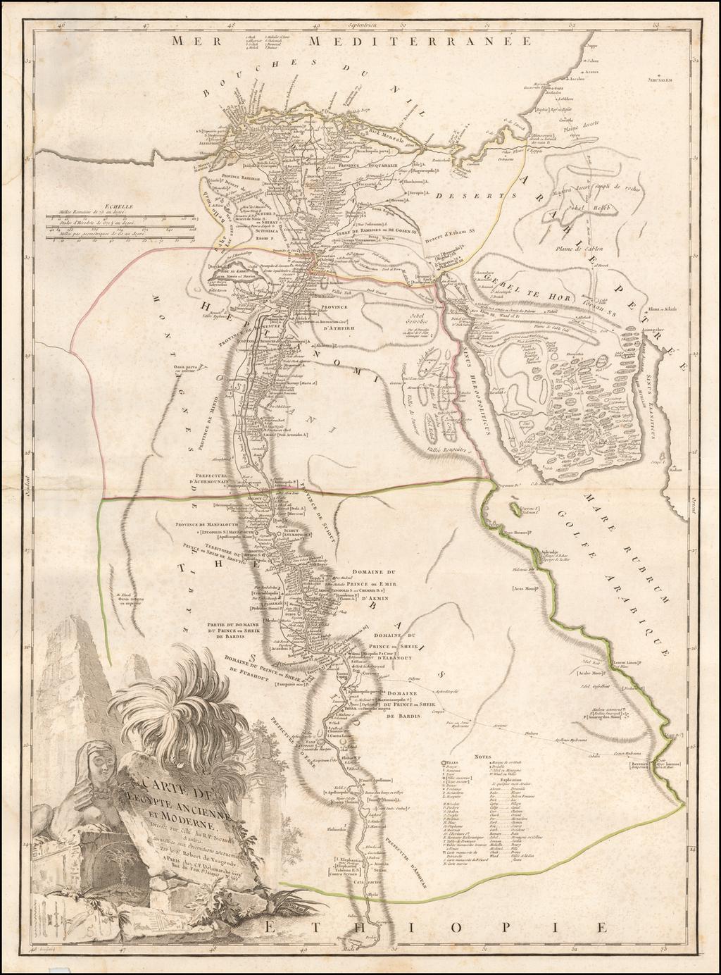 Carte De L'Egypte Ancienne et Moderne Dressee sure Celle du R.P. Sicard et autres . . .   By Charles Francois Delamarche