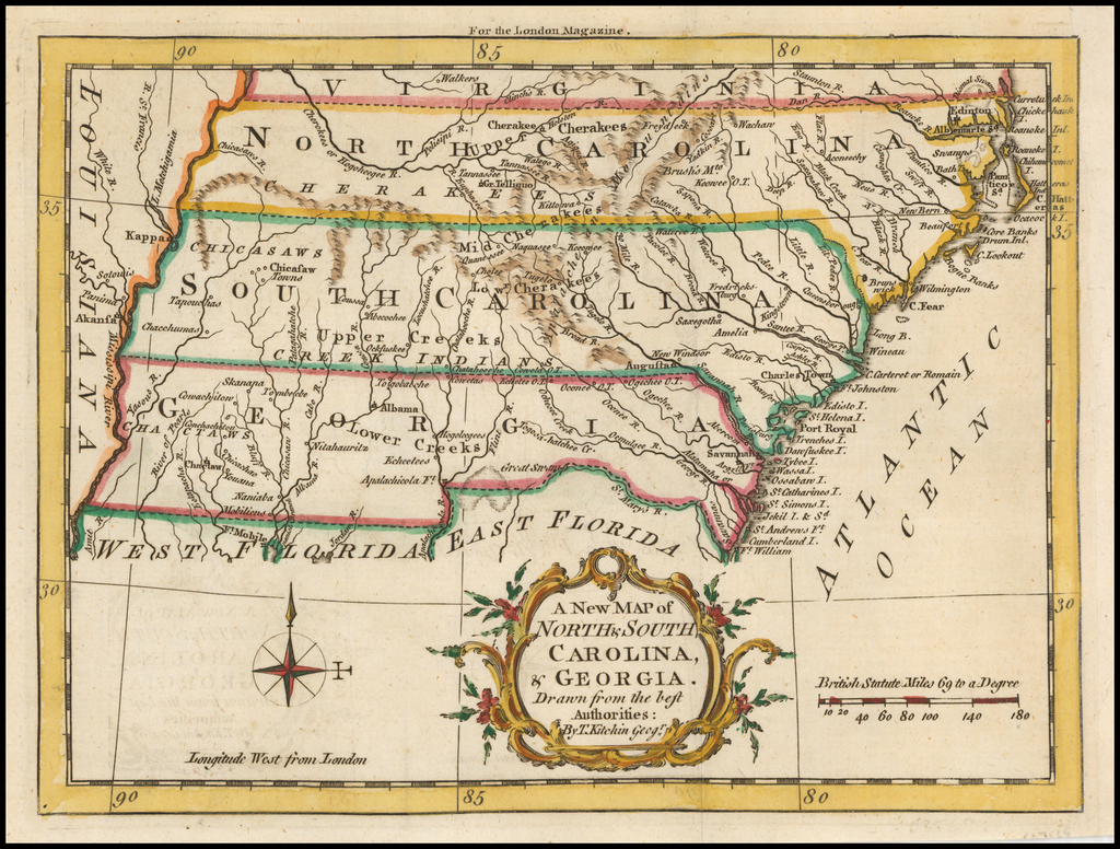 A New Map of North & South Carolina, & Georgia. Drawn from the best Authorities:  By T. Kitchin Geogr. By London Magazine