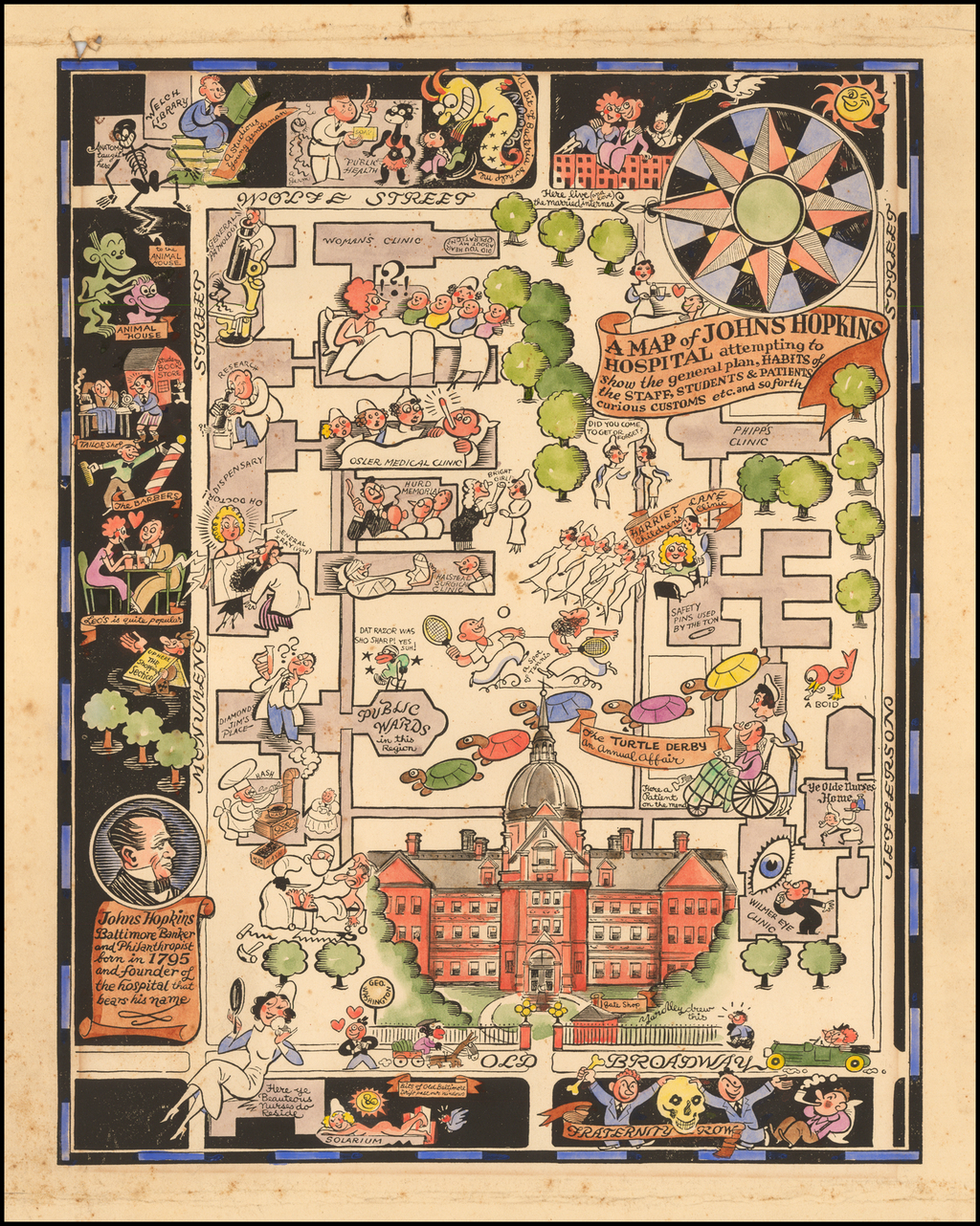 A Map of Johns Hopkins Hospital attempting to show the general plan, Habits of the Staff, Students & Patients curious Customs etc. and so forth By Richard Q. Yardley