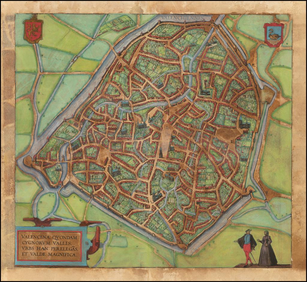 (Valenciennes) Valencena, Quondam Cygnorum Vallis, Urbs Han Perelegas, et Valde Magnifica By Georg Braun  &  Frans Hogenberg