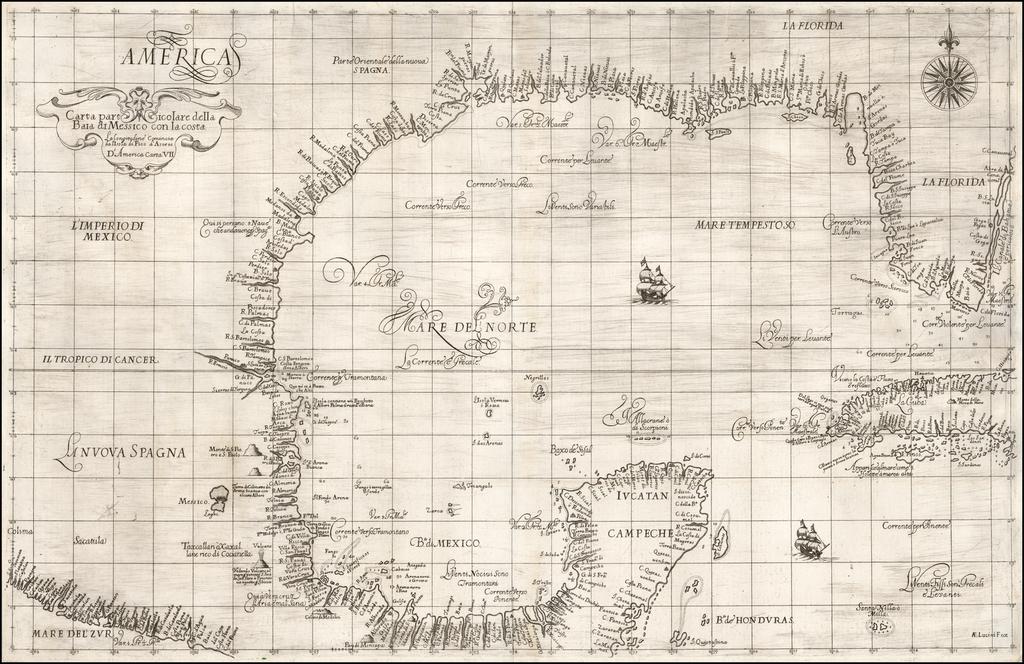 [Florida & Gulf Coast] Carta particolare della Baia di Messico con la costa . . .  By Robert Dudley