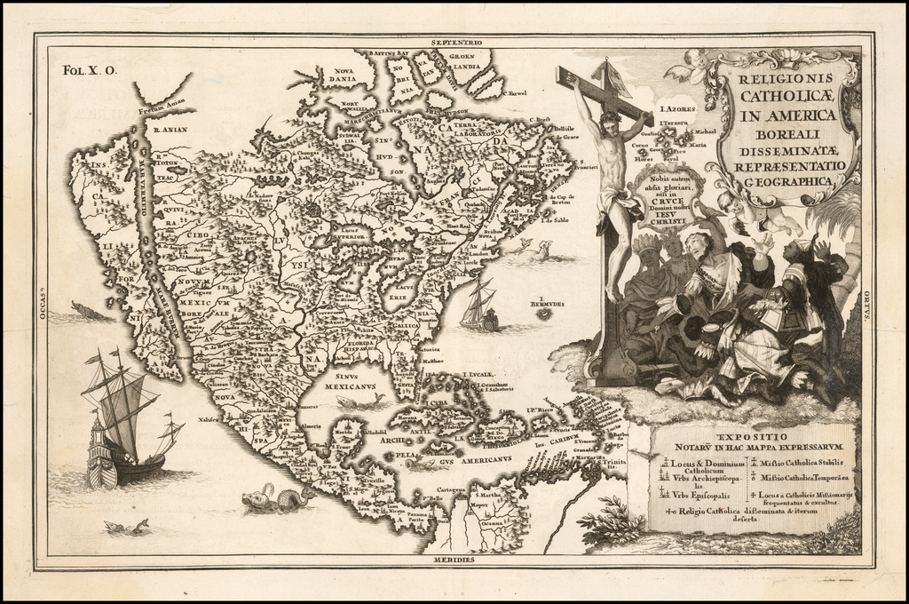 (North America / California as an Island)  Religionis Catholicae In America Boreali Disseminatae Repraesentatio Geographica By Heinrich Scherer