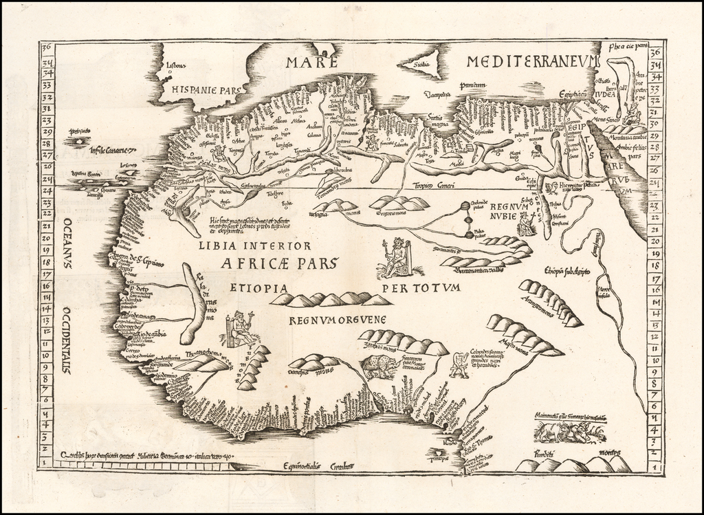 Tab. Mo. Primae Partis Aphricae et Tabula Secunde partis Aphricae. [Verso title.] By Lorenz Fries