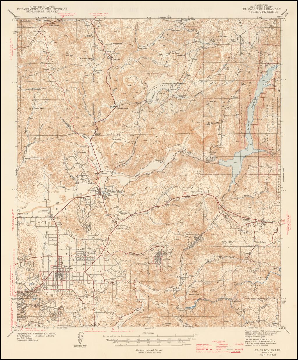 El Cajon Quadrangle 7 1/2-Minute Series By U.S. Geological Survey