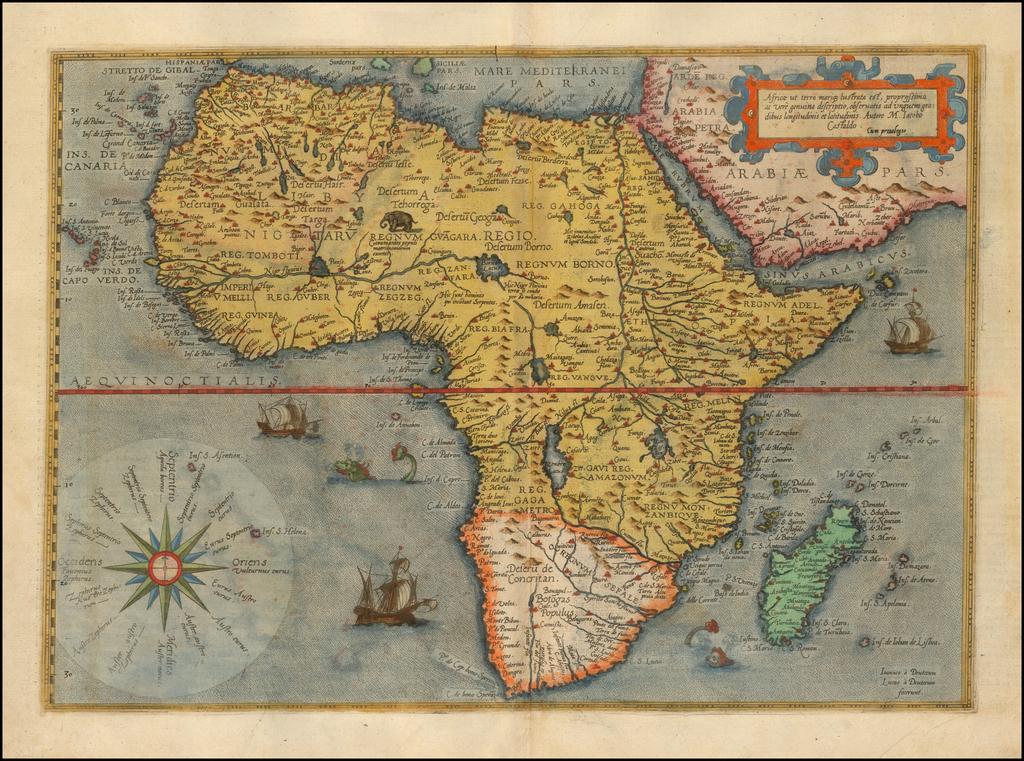 Africae ut terra mariq[ue], lustrata est, propiissima ac vere genuina descriptio, observatis ad unguem gradibus longitudinis et latitudinis. Autore M. Iacobo Castaldo By Gerard de Jode