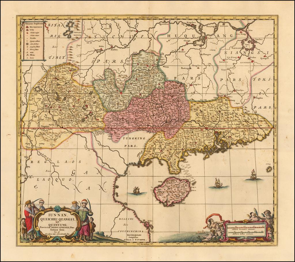 Iunnan, Queicheu, Quangsi et Quantun, Provinciae Regni Sinensi Praefecturae dictae By Peter Schenk  &  Gerard Valk