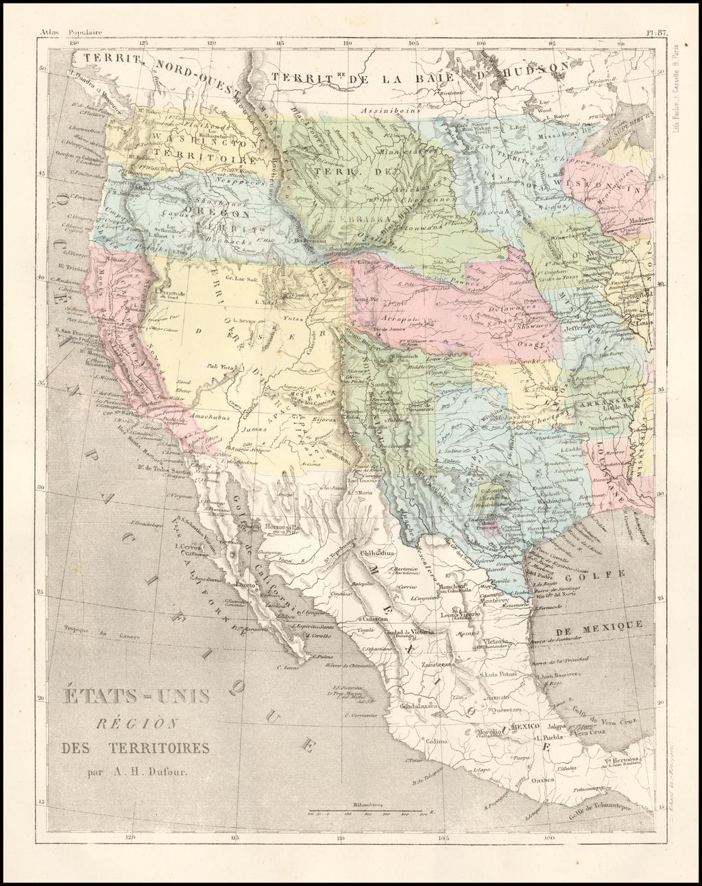 Etats-Unis Region Des Territoires . . . By Adolphe Hippolyte Dufour