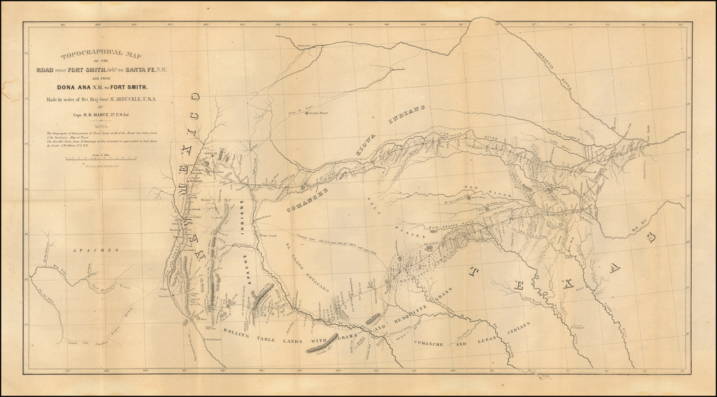 Topographical Map of the Road From Fort Smith Arks. to Santa Fe, N.M. and from Dona Ana N.M. to Fort Smith. Made by order of Bvt. Brig Genl. Arbuckle, U.S.A. By Capt R.B. Marcy, 5th U.S. Inf. . . .  By R.B. Marcy