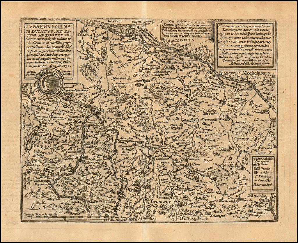 Lunaeburgensis Ducatus, Sic Dictus Ab Esdem Nominis metropoli, ub salinae totius Germaniae existunt praestantissimae olim in gratis illustriss . . . 1593 By Matthias Quad / Janus Bussemacher