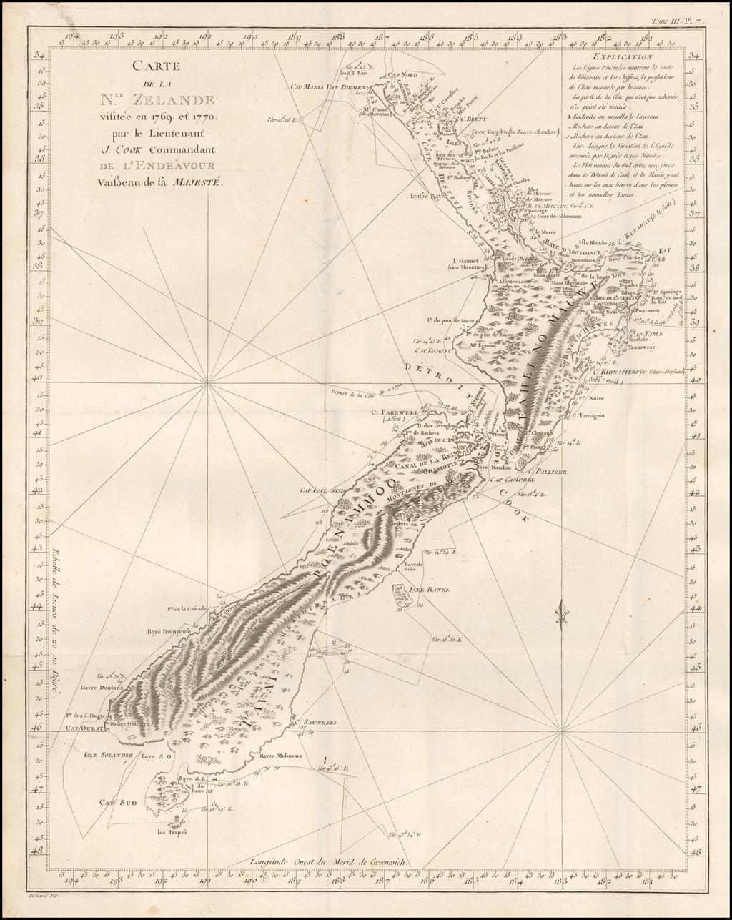 Carte De La Nle.Zelande visitee en 1769 et 1770 par le Lieutenant J. Cook Commandant De L'Endeavor Vaisseau de la Majeste By James Cook