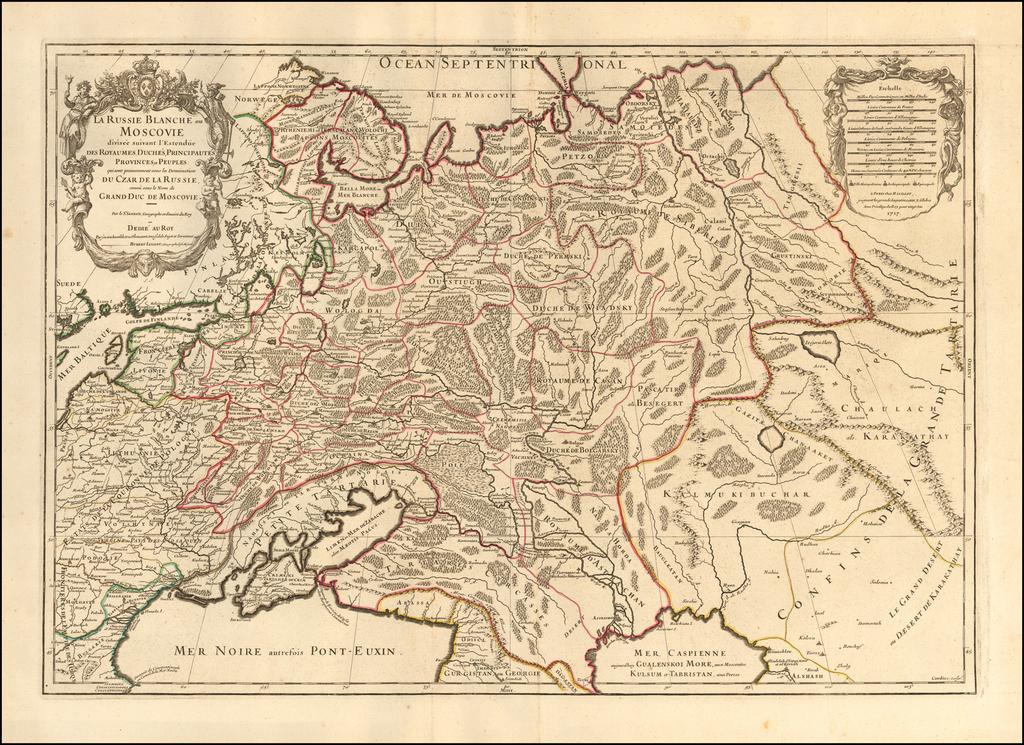 La Russie Blanche ou Moscovie Divisee Suivant l'Estendue Des Royaumes Duches. . .  qui sont Presentement Sous la Domination Du Czar De La Russie . . . 1717 By Alexis-Hubert Jaillot