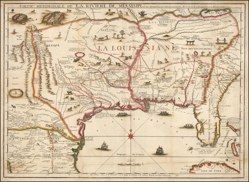 Partie Meridionale De La Riviere De Missisipi, et ses Environs dan L'Amerique Septentrionale . . . 1718 By Nicolas de Fer