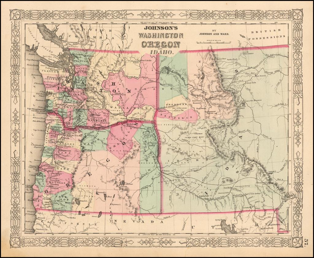 Johnson's Washington Oregon and Idaho By Benjamin P Ward  &  Alvin Jewett Johnson