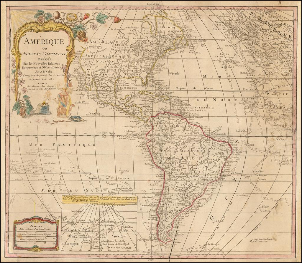 Amerique ou Nouveau Continent Dressee sur les Nouvelles Relations Decouvertes et Observations . . . 1817 By Jean-Baptiste Nolin / Maison Basset
