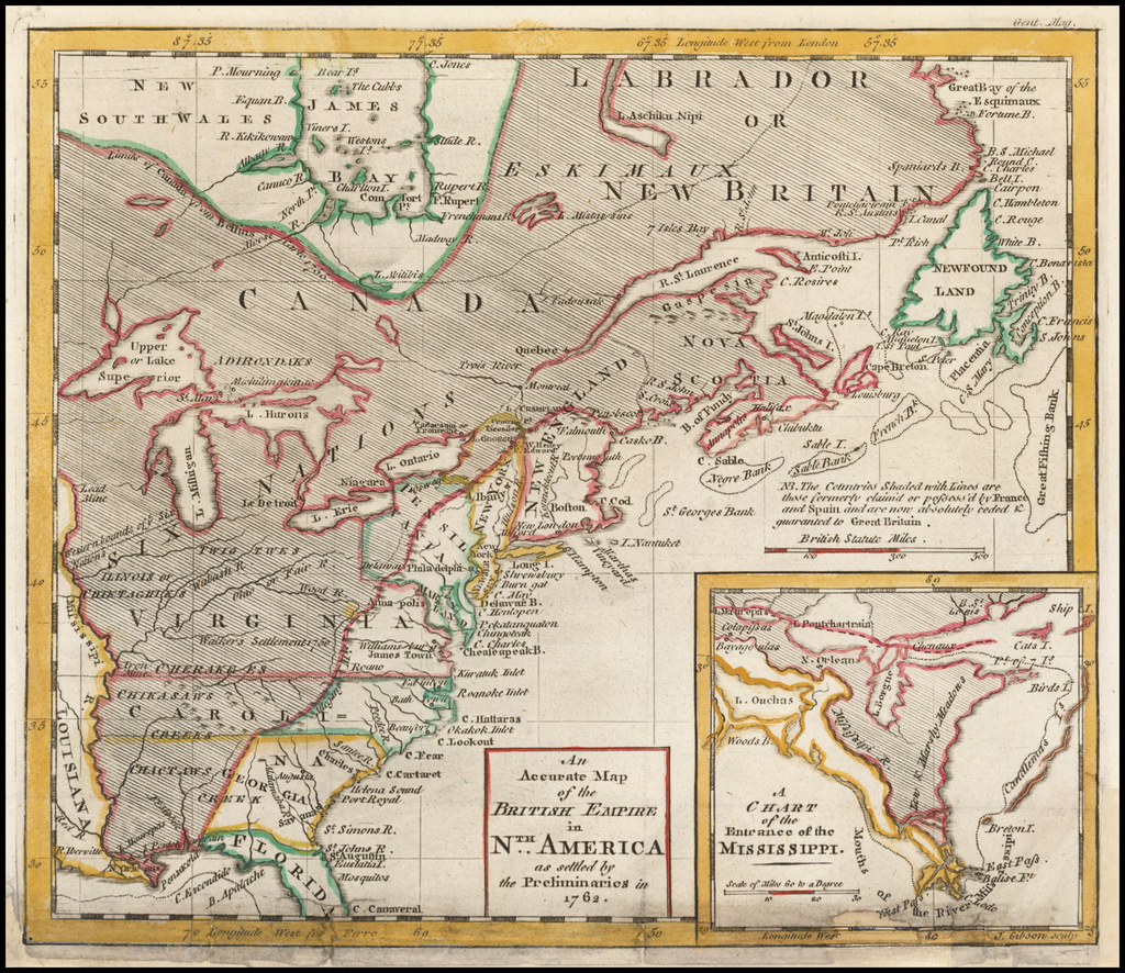 An Accurate Map of the British Empire in N.th America as settled by the Preliminaries in 1762. By Gentleman's Magazine