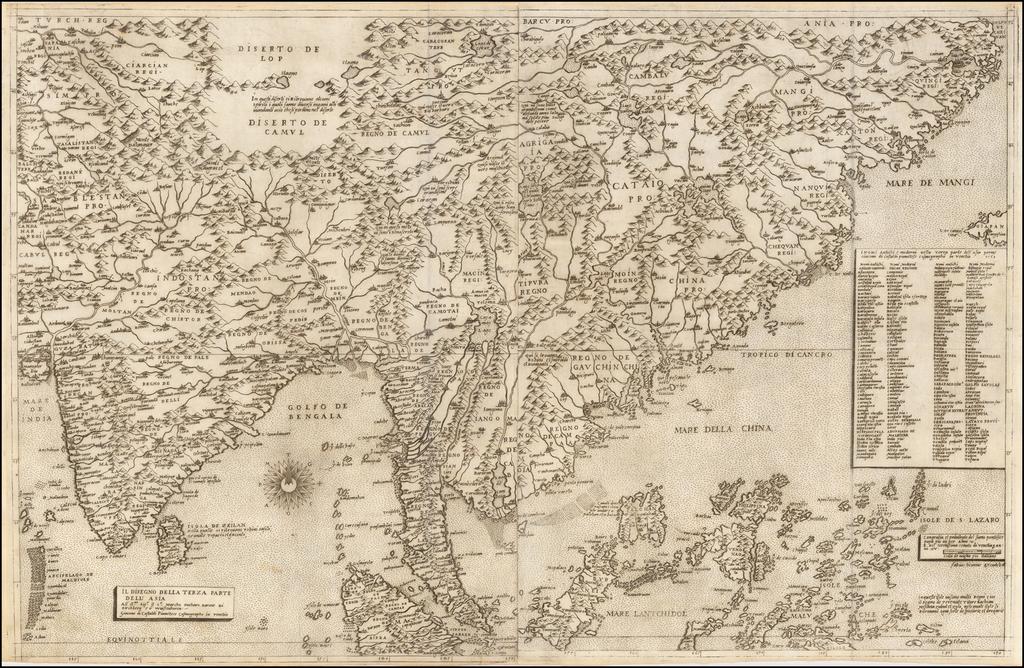Il Disegno Della Terza Parte Dell' Asia By Giacomo Gastaldi