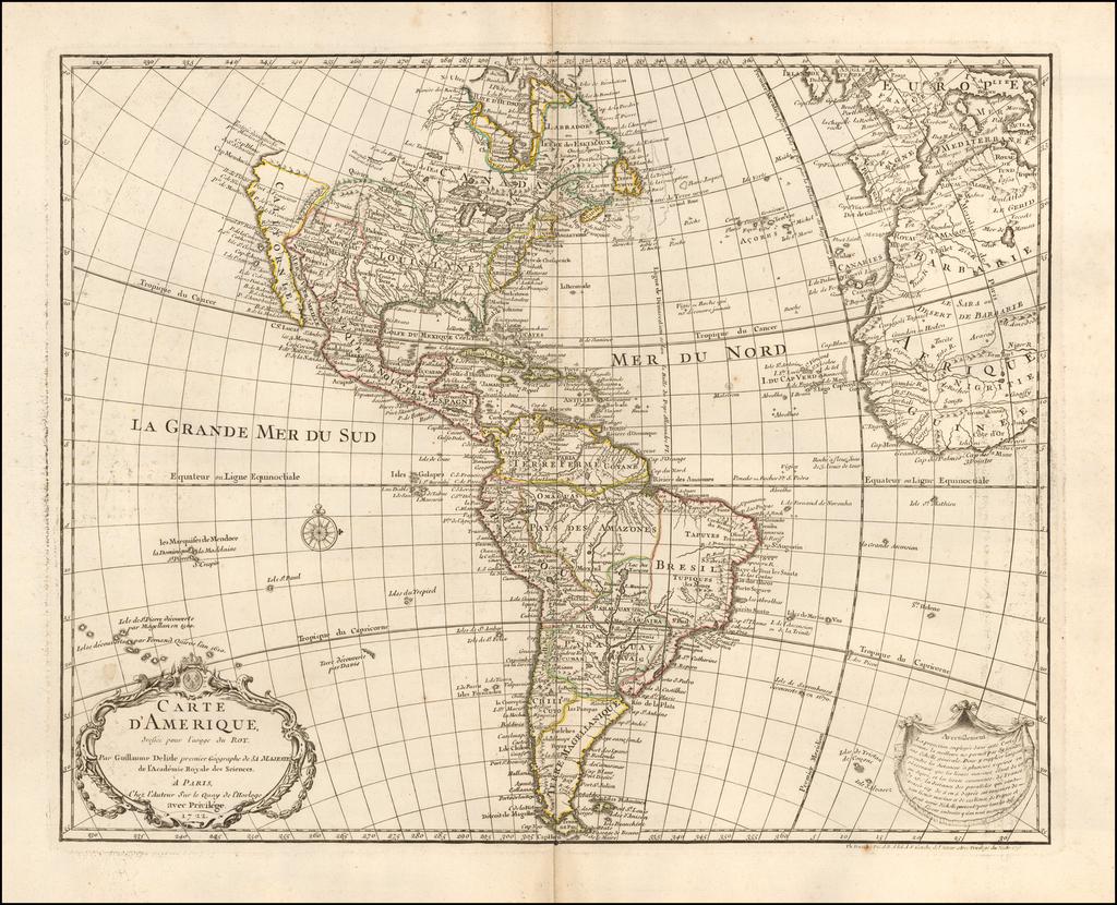 Carte D'Amerique . . .1722 By Guillaume De L'Isle / Philippe Buache