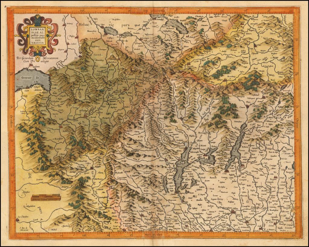 Lombardiae alpestris pars occidentalis cum Valesia By Gerhard Mercator