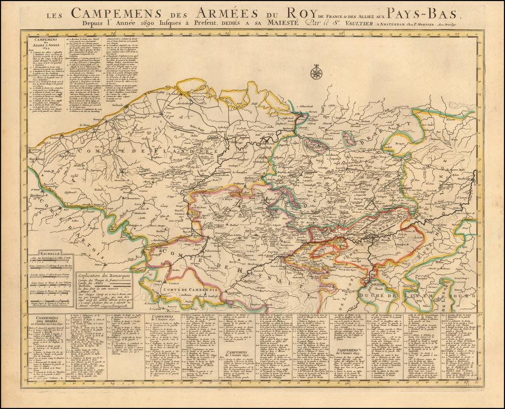 Les Campemens des Armées du Roy de France & Des alliez aux Pays-Bas. By Pieter Mortier
