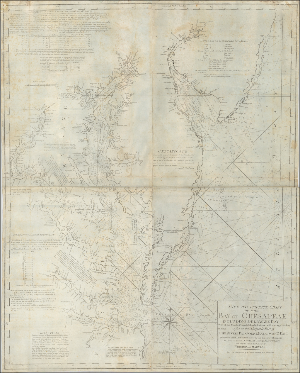 A New and Accurate Chart of the Bay of Chesapeak Including Delaware Bay With all the Shoals, Channels, Islands, Entrances, Soundings, & Sailing marks as far as the Navigable Part of The Rivers Patomack Patapsco & N. East.  . . . By William Norman