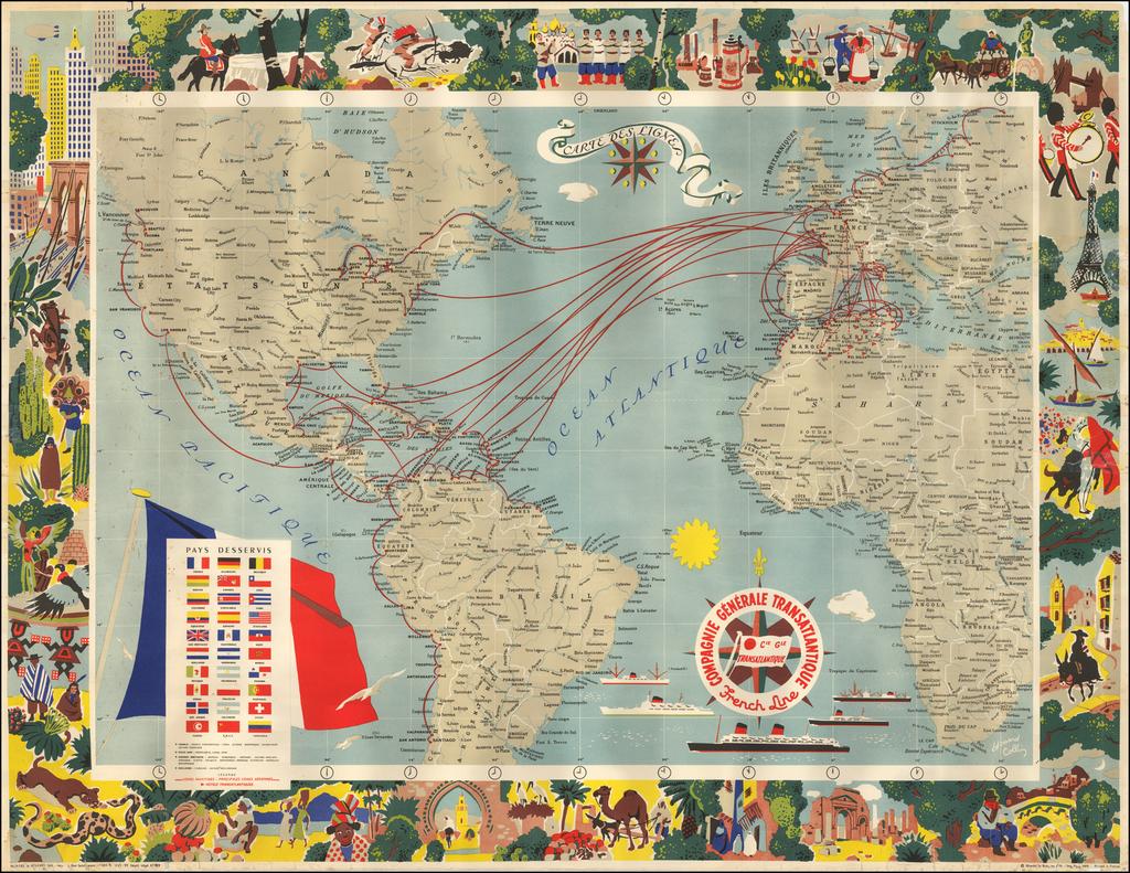 Carte Des Lignes -- Compagnie Generale Transatlantique French Line By E. Collin