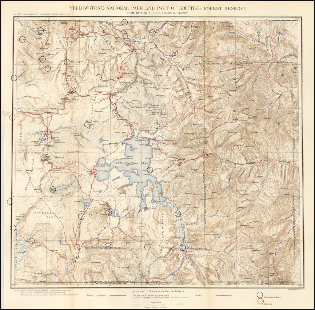 Yellowstone National Park and Part of Abutting Forest Reserve From Maps By The U.S. Geological Survey By Julius Bien / United States Bureau of Topographical Engineers